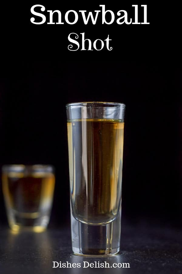 This snowball shot is a fun and tasty treat and loved by brandy lovers.  You don't have to be a brandy lover to enjoy this shot! #brandy #snowballshot #dishesdelish