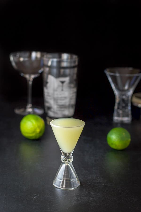 Lime juice poured out for the Bennett cocktail