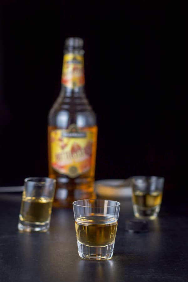 Butterscotch schnapps poured out for the butterball schnapps