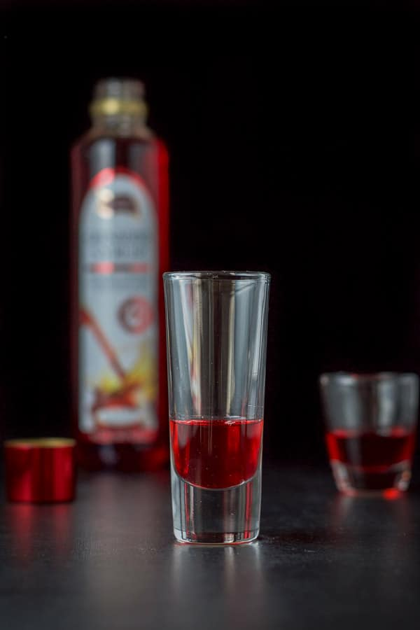 Grenadine poured for the chocolate covered cherry shot