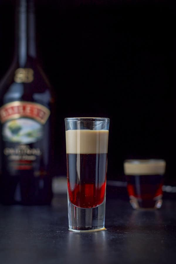 Baileys layered into the chocolate covered cherry shot