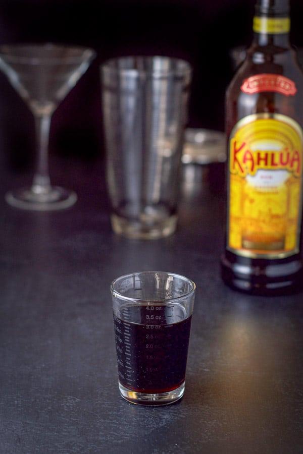 Kahlúa poured for the chocolate eggnog martini