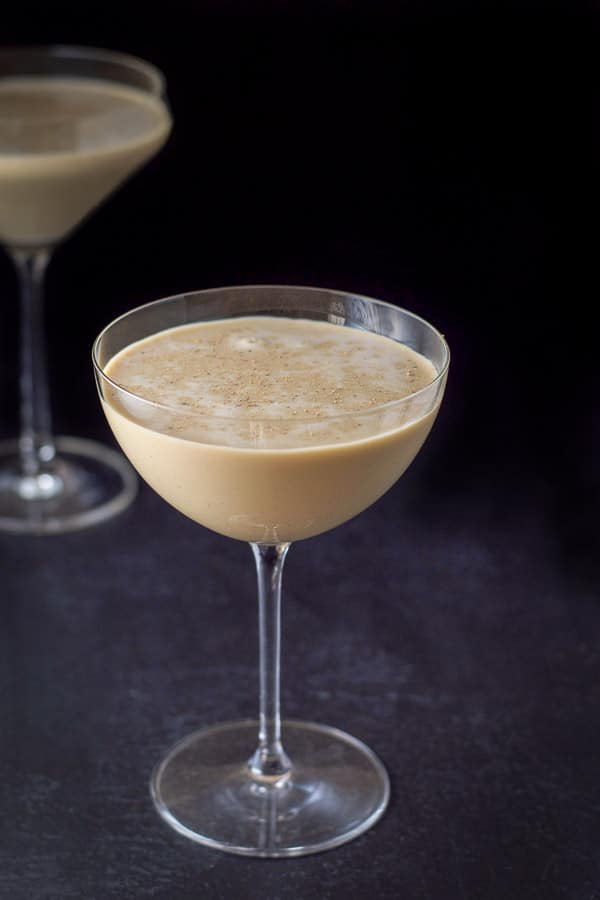Closer view of the chocolate eggnog martini