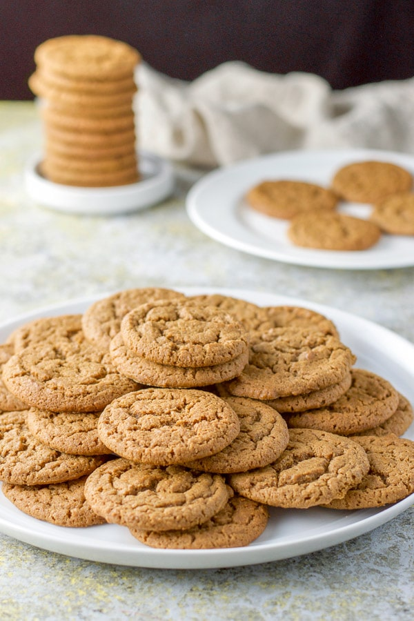 A big plate of ginger molasses cookies