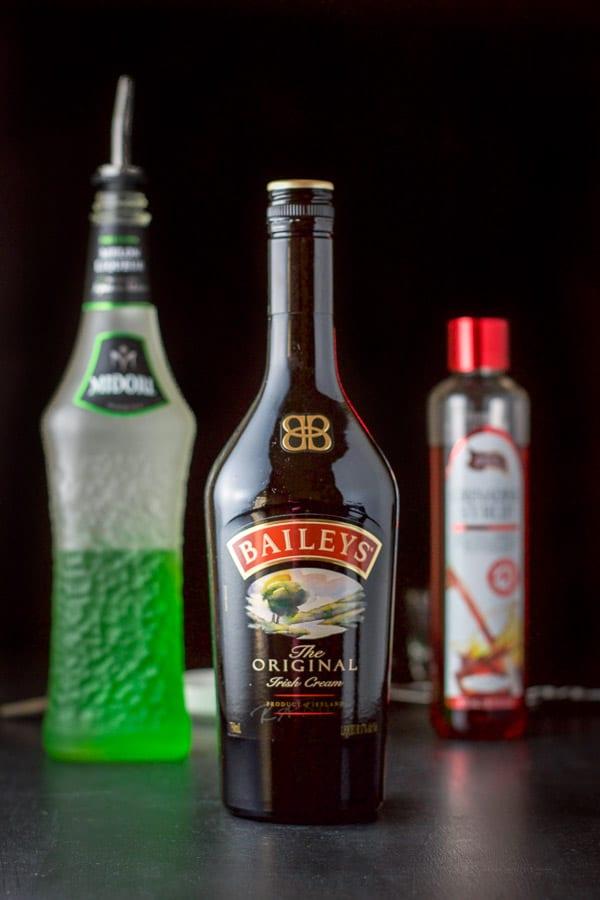 Baileys Midori and grenadine for the mangled frog shot