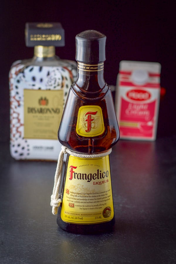 Frangelico, amaretto and light cream for the Nutcracker shot
