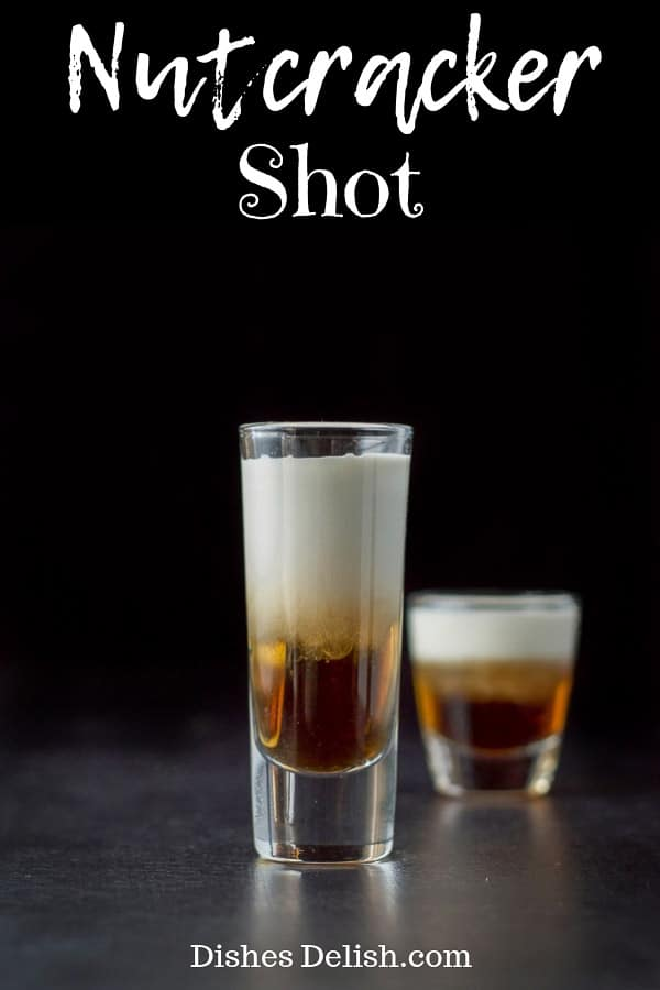 The flavor explosion of the Amaretto, Frangelico and light cream, makes for a scrumptious and beautiful shot! #frangelico #amaretto #nutcrackershot #dishesdelish
