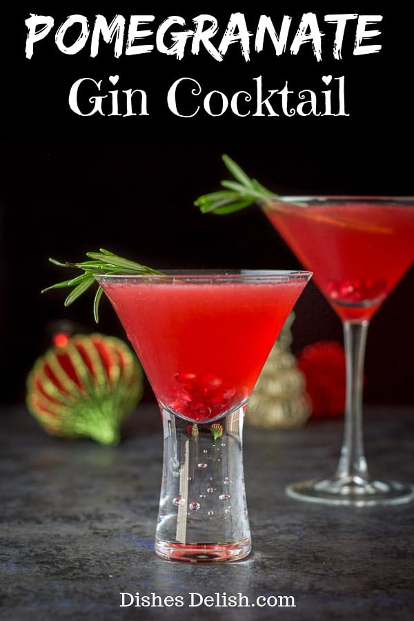 This pomegranate gin cocktail has two things going for it.  It is beautiful and delicious!  Pomegranate is a wonderful combination to add to gin!  Try it and see! #pomegranate #gin #dishesdelish