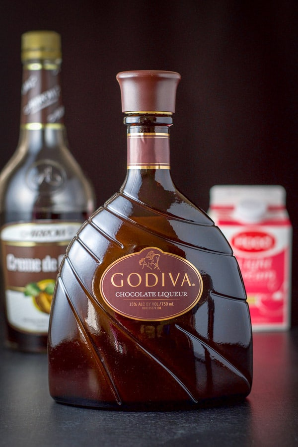 Godiva chocolate liqueur, creme de cacao and light cream for the Tootsie Roll shot