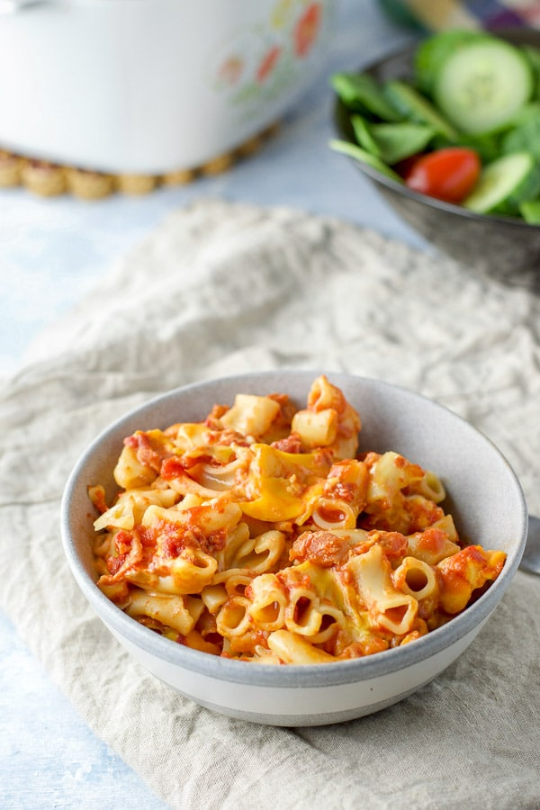 Close up of the bacon tomato pasta in a bowl