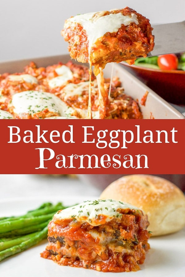 You bake the eggplant instead of frying it in oil which means you can use more cheese in this comforting baked eggplant parmesan!! #eggplantparmesan #baked #bakedeggplantparmesan #dishesdelish