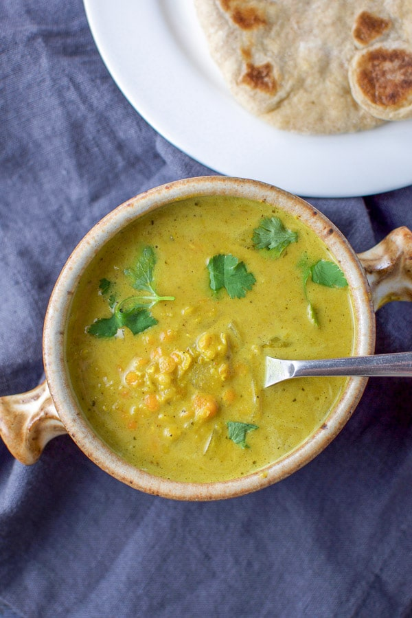 Overhead view of the coconut curry lentil soup