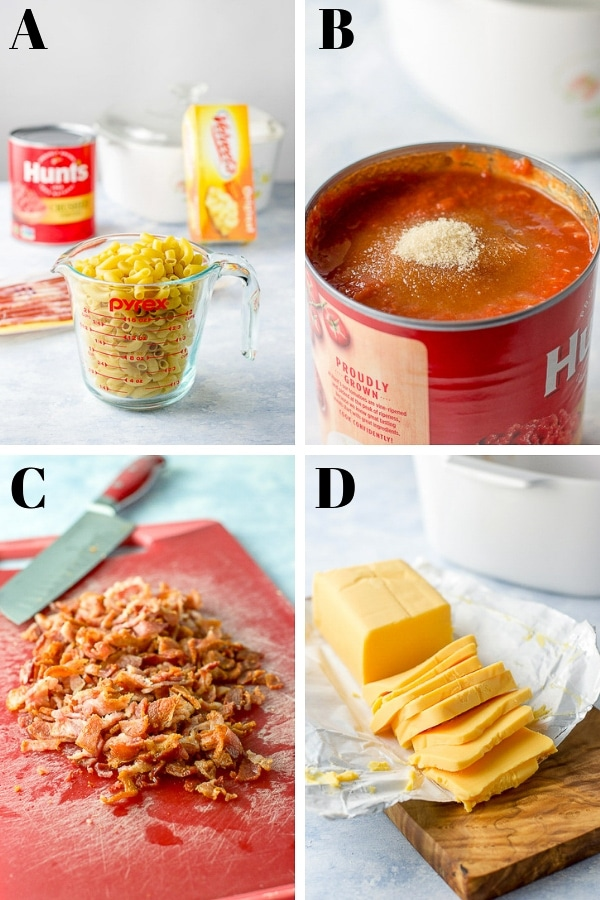 Collage of Process shots of the Bacon Tomato Pasta 1