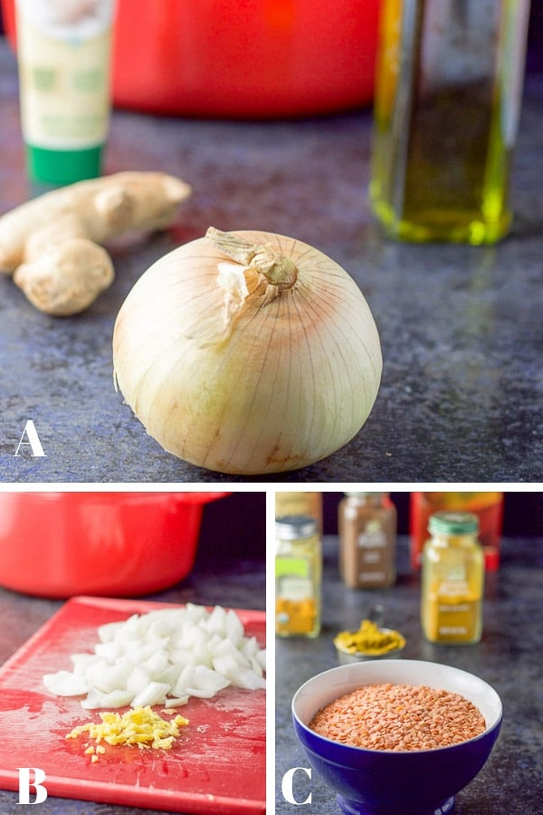 Collage of Process shots of the coconut curry lentil soup - the ingredients