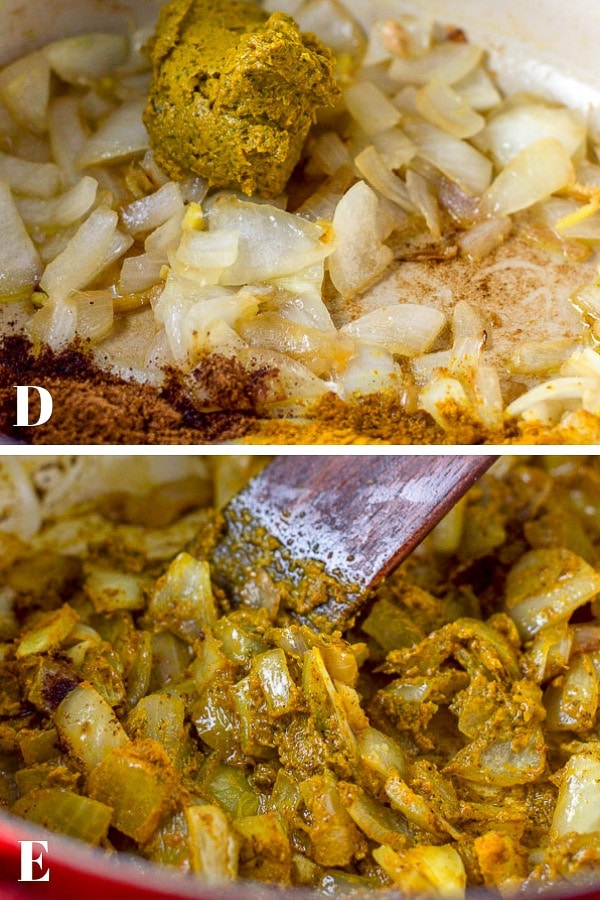 Curry and spices with the onions and stirred together for the coconut curry lentil soup