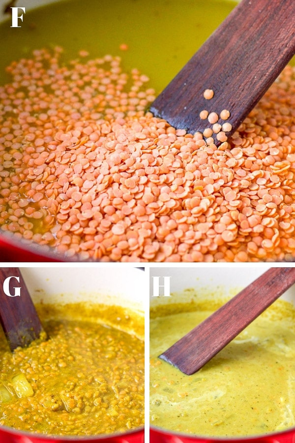 Collage of Process shots of the coconut curry lentil soup - all the ingredients all mixed together