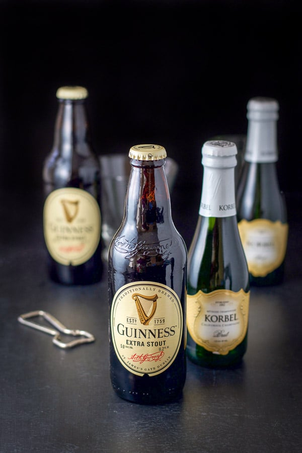 Guinness and champagne for the Guinness red velvet cocktail