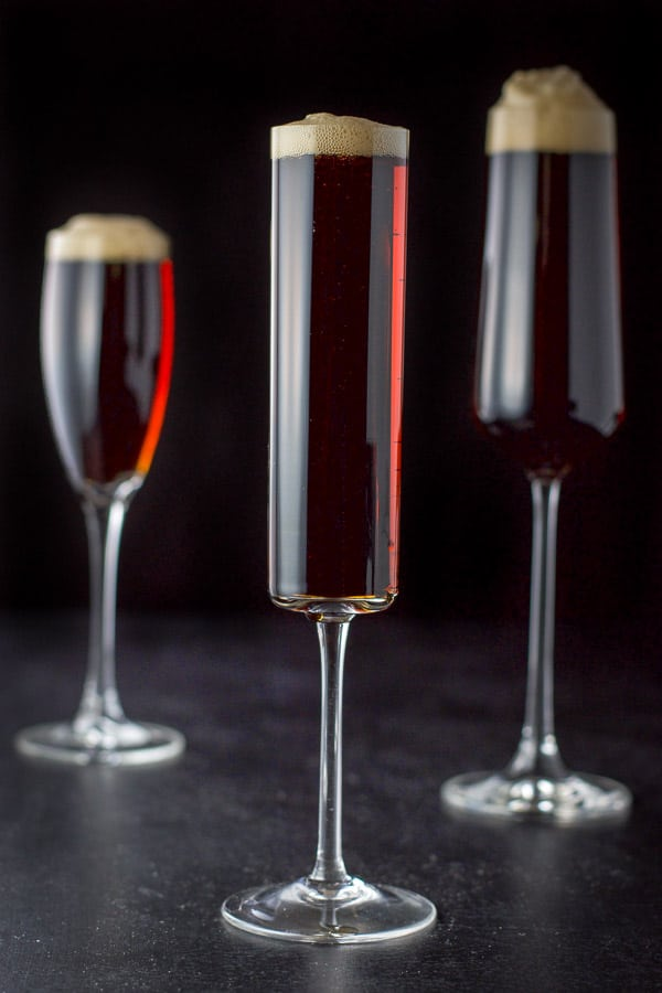Vertical view of the three glasses of Guinness red velvet cocktail