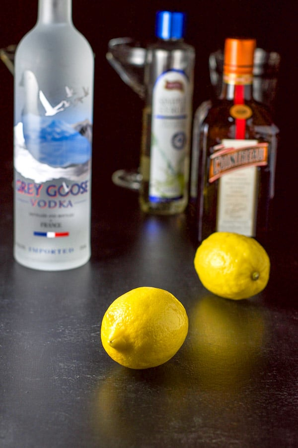 The ingredients - lemon, vodka Cointreau and simple syrup for the lemon drop martini recipe