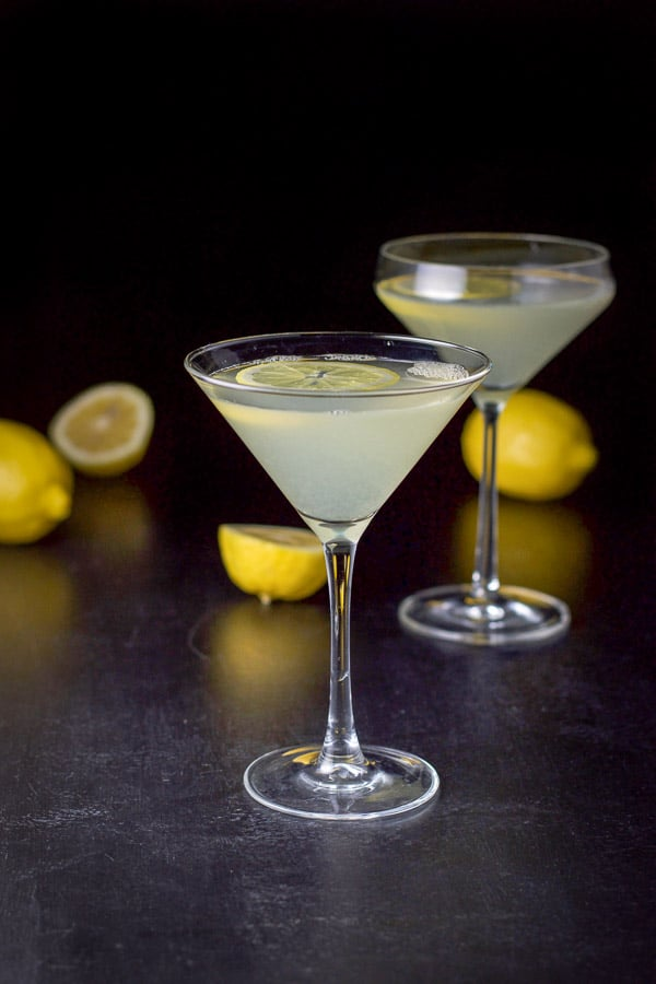Near vertical view of the lemon drop martini