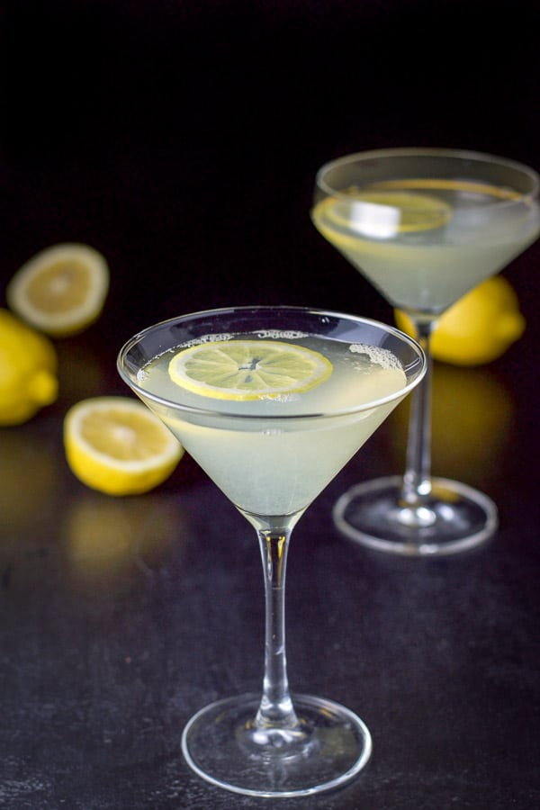 Near overhead shot of the lemon drop martini