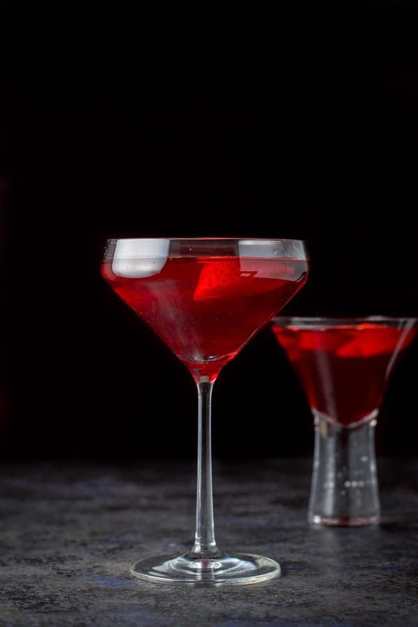 The love martini poured into two martini glasses