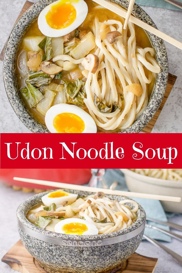 This udon noodle soup is so scrumptious.  The broth is so full-bodied, the noodles are thick and the egg makes this soup one of the best soups I've ever had. #udonnoodle #udonnoodlesoup #soup #dishesdelish