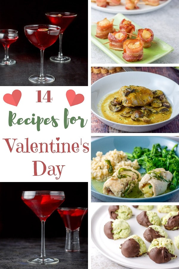 14 delicious recipes for Valentine's day!  Make one, make two, make them all.  If you're staying home for V-day, take the guesswork out of what you're going to make! #valentinesday #valentinesdayrecipes #dishesdelish