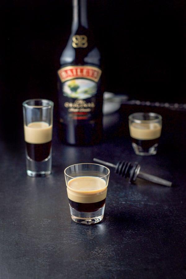 Baileys Irish cream layered into the B52 shot recipe