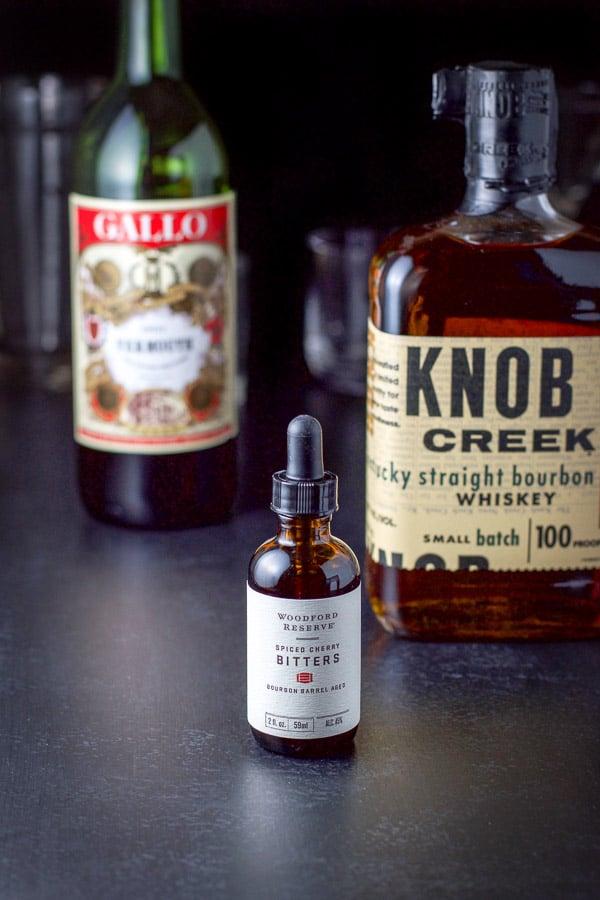 Bitters, bourbon, sweet vermouth for the bourbon Manhattan