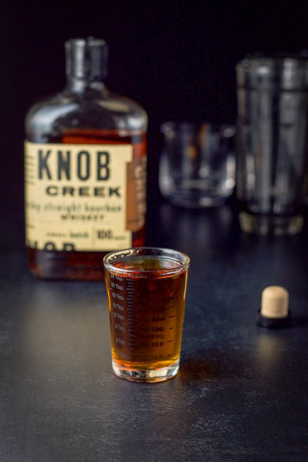 Bourbon measured for the bourbon Manhattan