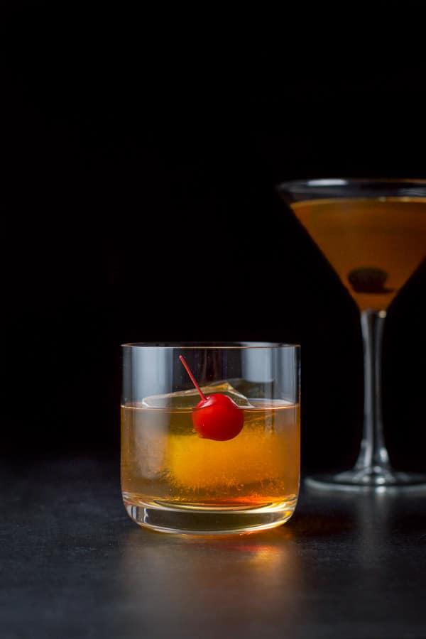 Vertical view of the bourbon Manhattan