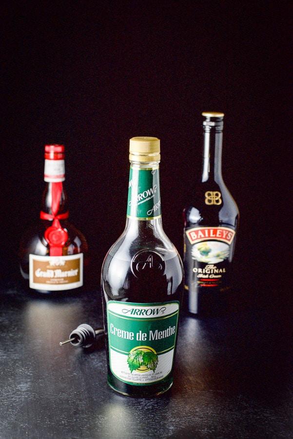 Creme de Menthe, Baileys Irish cream and Grand Marnier for the Irish flag shot
