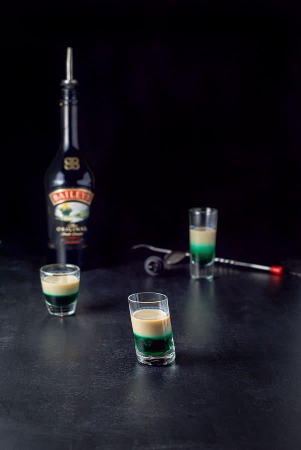 Baileys Irish cream layered into the Irish flag shot