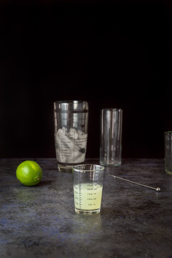 Lime measured for the gin lime rickey