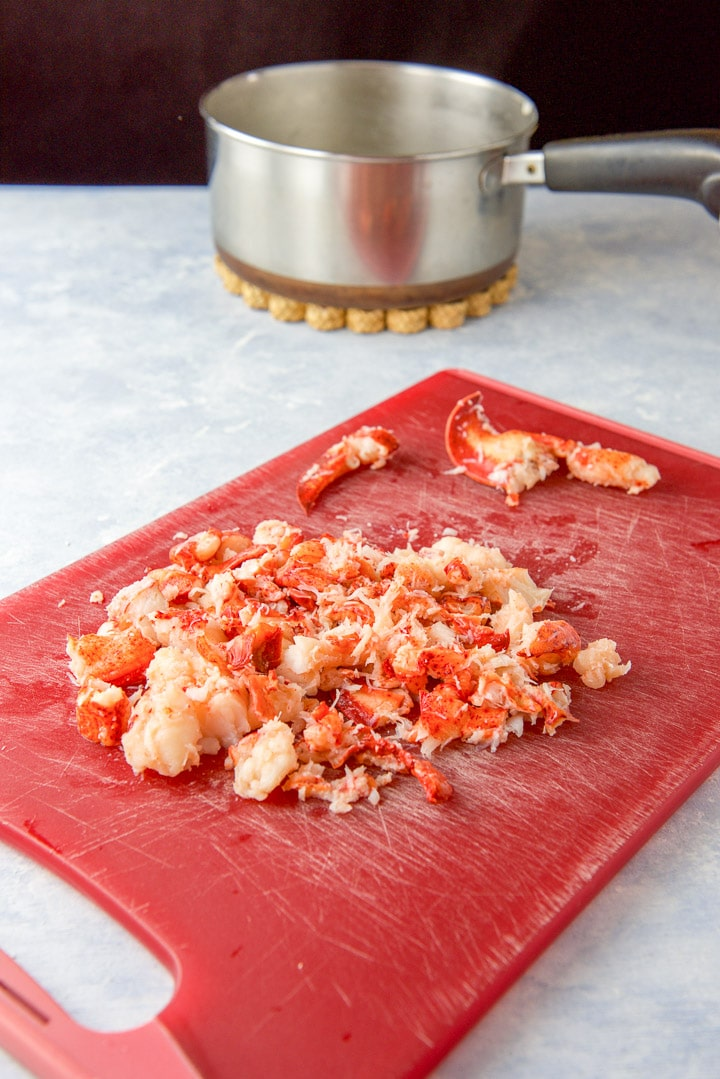 Lobster cut up for the lobster casserole