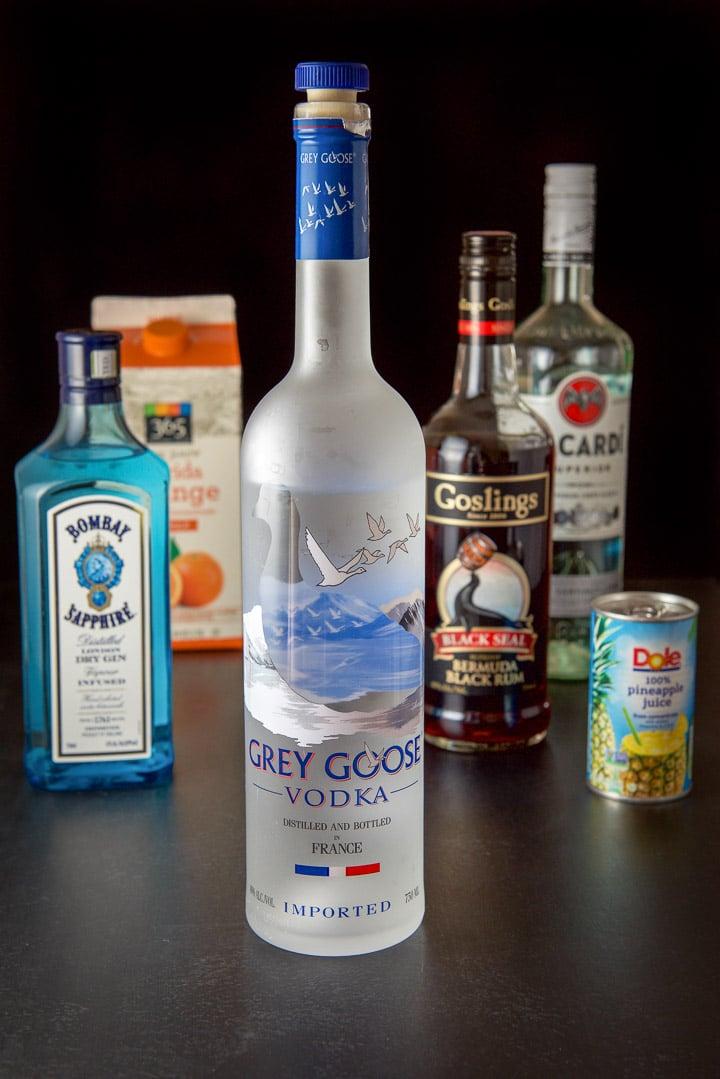 Ingredients for the Scorpion bowl - vodka, gin, dark rum, white rum, pineapple juice and orange juice