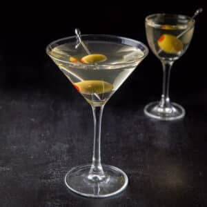 Classic glass of the vodka dirty martini - square