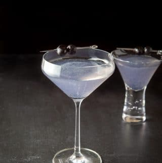 The aviation cocktail recipe poured into the two glasses