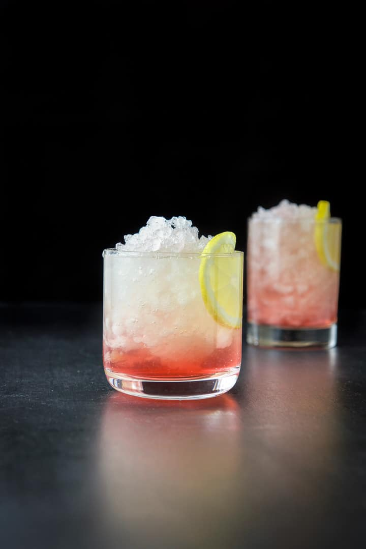 Shorter glass filled with the bramble cocktail recipe