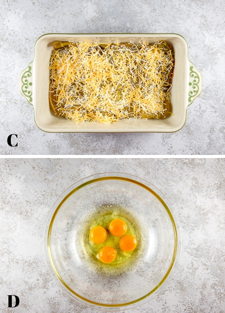 Sprinkle Mexican cheese over chiles and crack eggs in a bowl for the chile relleno casserole