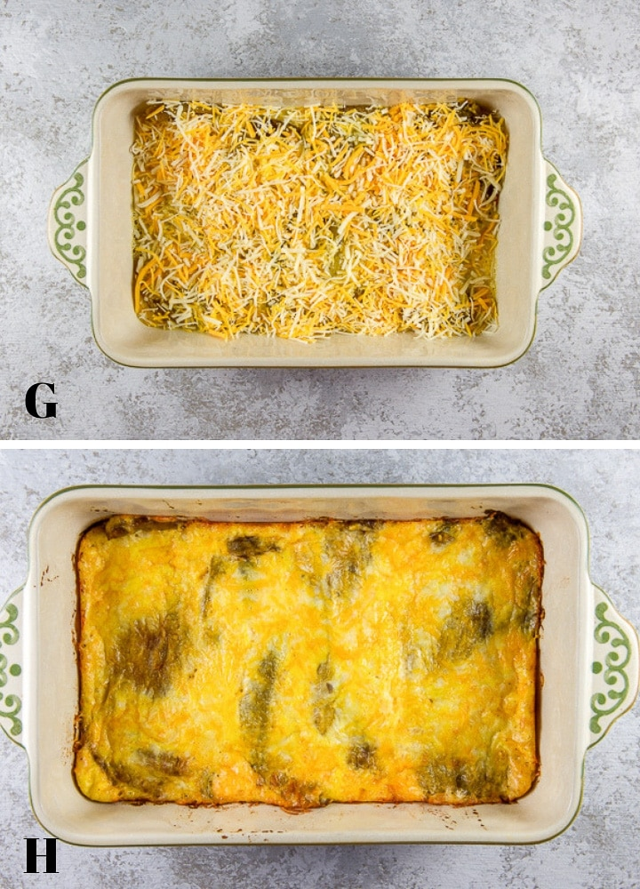 Eggs poured on the chile relleno casserole and cheese sprinkled on. Also a cooked casserole
