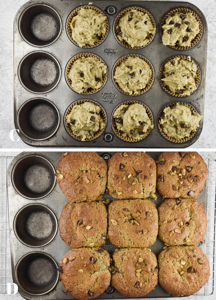 Batter in the pan and pistachio muffins done