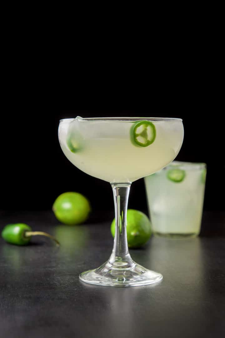 Vertical view of the jalapeño margarita