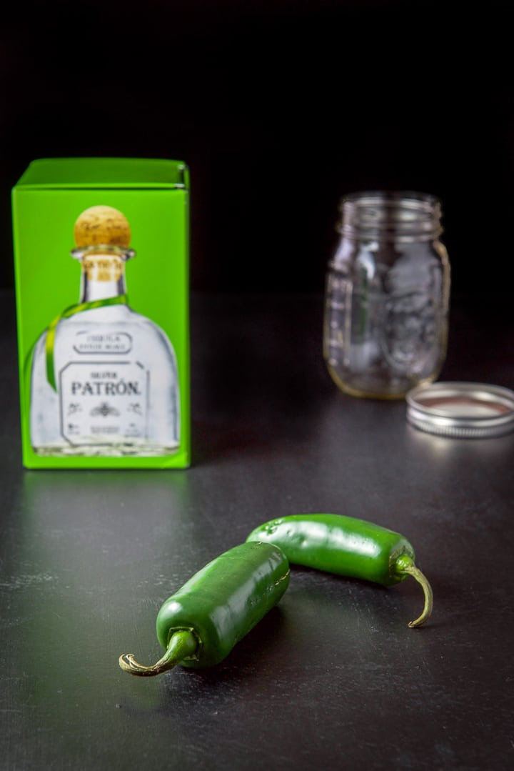 Jalapeños, tequila and a jar for the jalapeño infused tequila