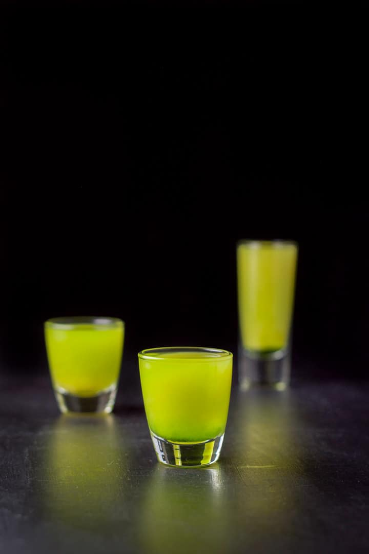 Short glass of the melon ball shot in front