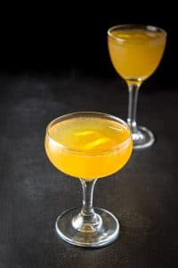 Close up of the sidecar cocktail in the coupe