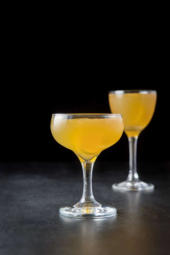 Vertical shot of the sidecar cocktail