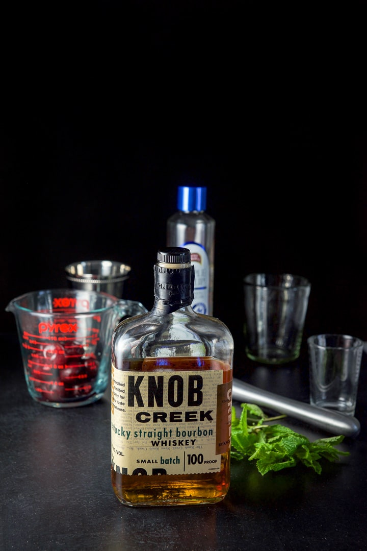 Bourbon, mint, cherries and simple syrup for the cherry mint julep