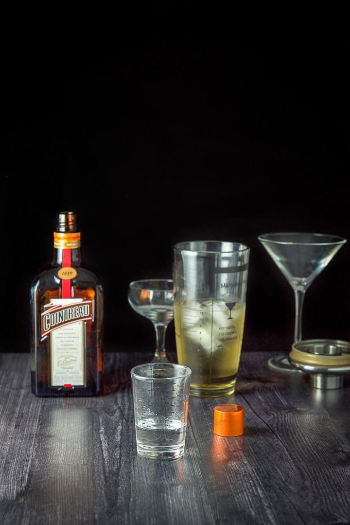 Cointreau poured out for the Claridge cocktail